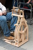image of spinner  - Wooden spinner machine for rolling the yarn - JPG
