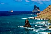 picture of atlantic ocean  - Stone coast or shore with rock of Atlantic ocean and sky with clouds and skyline or horizon landscape in Tenerife Canary island Spain  - JPG
