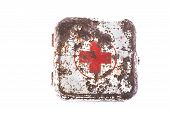 pic of pacemaker  - isolated old metal rust vintage medicine chest - JPG