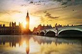 stock photo of london night  - Big Ben and Westminster Bridge at dusk London UK - JPG