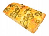 stock photo of fiery  - Cheese and fiery jalapeno pepper focaccia bread isolated on a white background - JPG