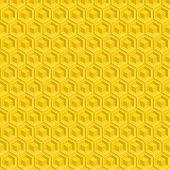 stock photo of honeycomb  - Seamless pattern of yellow glossy honeycombs - JPG