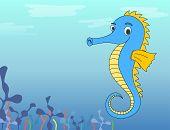 stock photo of seahorses  - Vector illustration of cute cartoon seahorse in ocean - JPG