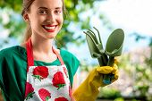 stock photo of apron  - Portrait of a young woman gardener with apron and gardening tools outdoors on the green background - JPG