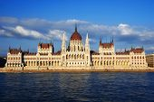 picture of hungarian  - Hungarian Parliament Building on the bank of the Danube in Budapest - JPG