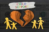 foto of broken hearted  - Child Support text with paper family and broken heart over money background - JPG