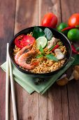 image of thai cuisine  - Tom Yum Kung with noodles is popular Thai dish cuisine - JPG