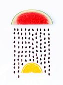image of rainy season  - weather concept watermelon and orange shape of rainy season - JPG