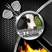 picture of cow head  - Steak house menu design with round symbol with head of cow on a dark metal background with grill flames and kitchen utensils - JPG