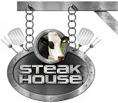 image of food chain  - Metallic sign with text Steak House head of cow spatulas and forks - JPG