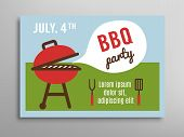 stock photo of bbq party  - Summer party invitation BBQ picnic - JPG