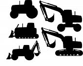 pic of construction machine  - Set of heavy construction machines silhouette - JPG