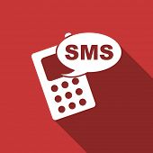 stock photo of sms  - sms flat design modern icon with long shadow for web and mobile app  - JPG