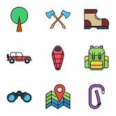 stock photo of sleeping bag  - Camping flat vector icon set for web and mobile applications - JPG