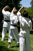 stock photo of karate kid  - Three boys practicing karate - JPG