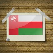 picture of oman  - Flags of Oman at frame on a brick background - JPG