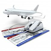 picture of mouse  - Online booking flight or travel concept - JPG