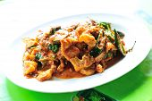stock photo of gai  - SPICY STIR FRIED PORK WITH RED CURRY  - JPG