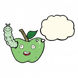 stock photo of caterpillar cartoon  - cartoon apple with bug with thought bubble - JPG