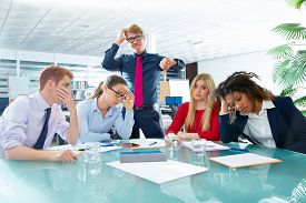 image of gesture  - business meeting sad expression bad negative gesture young teamwork - JPG