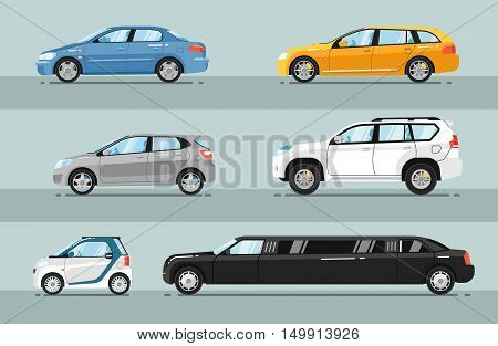 poster of Different passenger cars. Sedan, universal, hatchback, off-road, SUV, mini, limousine car body types vector illustrations set. Different type of cars. For auto shops, salon ad, transport concepts. Rent a car concept. Detailed cars. Isolated cars.