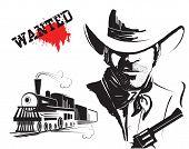 Vector Bandit And Locomotive. Western Poster