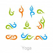 Set with various poses of yoga. Yoga exercises.  Design for Yoga class, yoga center, yoga studio, yo poster