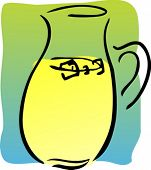 Pitcher of fresh lemonade, retro hand-drawn style