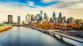 Panoramic picture of Philadelphia skyline and Schuylkill river, PA, USA. poster