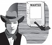 Cowboy And Gun. Graphic Image Background With Wanted Paper