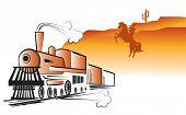 Vector Cowboy And Locomotive. Western Bandit Life