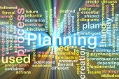 Word cloud concept illustration of planning process glowing light effect