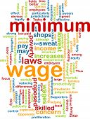 image of sweatshop  - Word cloud concept illustration of minimum wage - JPG