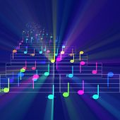 image of nursery rhyme  - Colorful notes sheet music cheerful musical concept background illustration glowing light - JPG