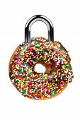 Temptation / Diet Concept with Donut as Padlock