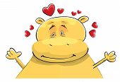 Valentine Card: Happy Hippopotamus In Love. Dreamy Look And Smile. Hands Up Ready For Hug