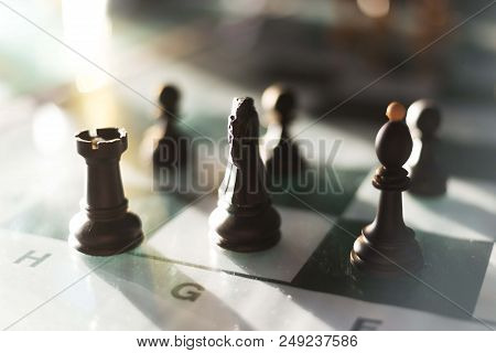 chess game chess figures on