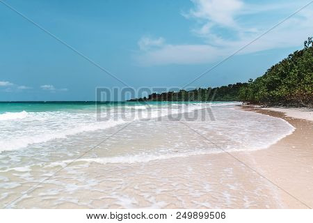 poster of Sea With A White Sand Beach. Aerial View From Above. Sea Waves. Sand Beach Aerial, Top View Of A Bea