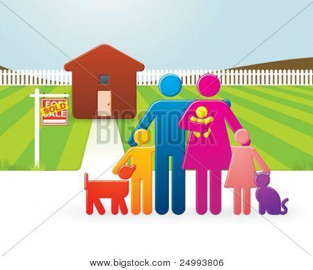 Постер, плакат: Вектор красочные семья перед их недавно купил страны домой, холст на подрамнике