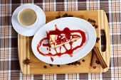 Piece Of Cheesecake Cake With Jam, Jam And A Cup Of Coffee With Cream poster