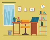 The Workplace Interior Cartoon Design With Furniture, Bookshelf. Freelancer, Designer Office Worksta poster