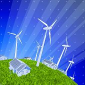 Ecology concept: wind-driven generators, houses with solar power systems, blue sky & green grass. Bi