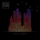 Big City Dot Pattern Icon. Big City Dotted Icon, Night View. Vector Illustration Of Big City. Busine poster