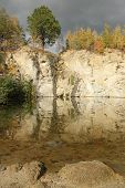 flooded stone quarry at autumn time  - Zulova - Jesenik mountains - Czech republic