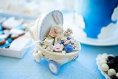 Candy Bar Decorations On Babys Christening Party For Boy. Decorated In Blue And White Colors poster