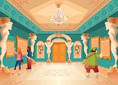 Vector Cartoon Museum Exhibition With Pictures And Visitors In Royal Ballroom With Atlas Columns. Ar poster