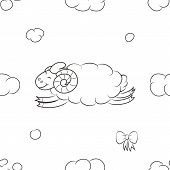 Fuzzy Sheep Flying In The Sky. Funny Baby Wallpapers. Vector Illustration. poster