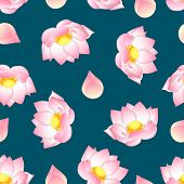 Pink Indian Lotus On Green Teal Background. (nelumbo Nucifera,sacred Lotus, Bean Of India, Egyptian  poster