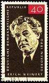 German Poet Erich Weinert On Post Stamp