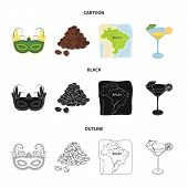 Brazil, Country, Mask, Carnival . Brazil Country Set Collection Icons In Cartoon, Black, Outline Sty poster